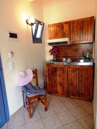 Aquarius Village Hotel: small kitcen with fridge in the room