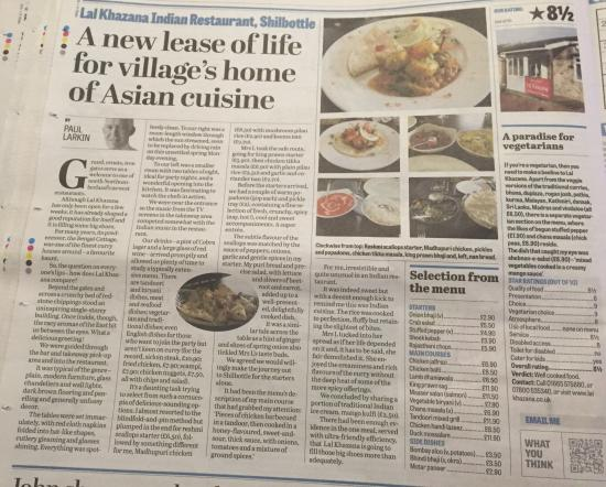 Shilbottle, UK: Fantastic Review By The Northumberland Gazette Secret Diners