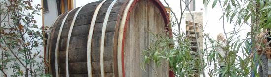 Lorch, Germany: old cask at the winery's courtyard of Graf Von Kanitz
