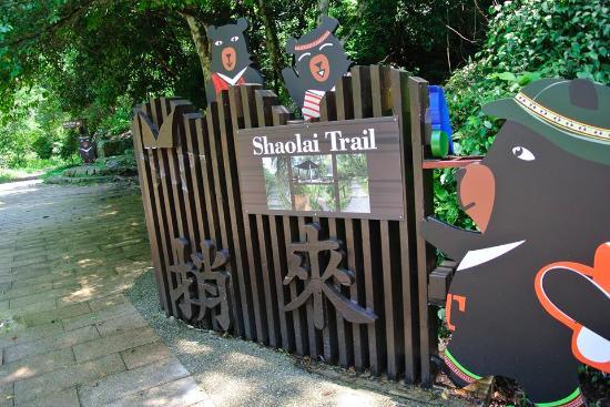 Dongshi, ไถจง: 温泉公園裏からの入り口、この30m先に猿が居た