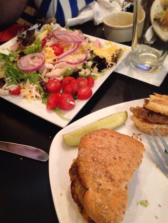 The Creek Grill: My turkey burger and my dads chef salad