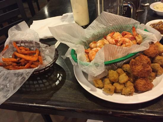 Moss Creek : Boiled shrimp, fried okra and hush puppies