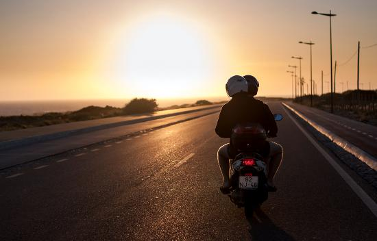 Image result for scooter in the sunset