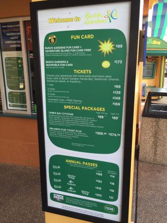 Ticket Prices Picture of Busch Gardens Tampa Tampa TripAdvisor