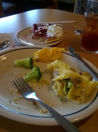 Adel, GA: uncooked whole broccoli florets in garden omelette