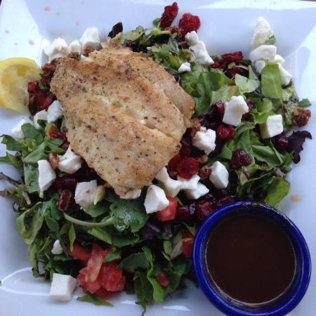 Cropped salad with grouper fish tale grill by merrick for Fish tale grill