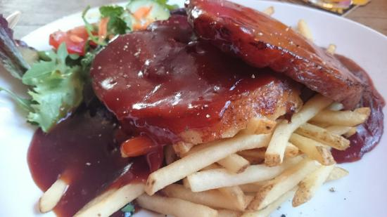 Roast belly of pork with bbq sauce, chips and salad, just yummy!