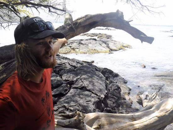 Kealakekua, HI: AJ sharing Captain Cook adventures.