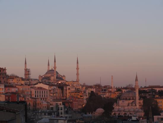 Ascot House: View of blue mosque from the balcony at sunset