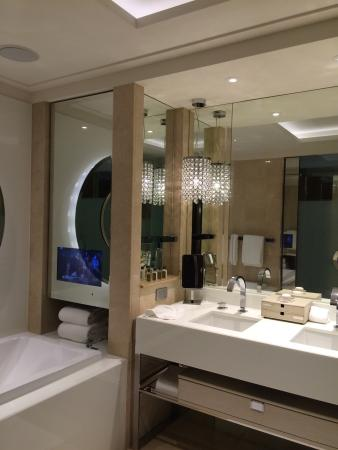 The gorgeous interior if Crown Towers Hotel, compact but luxurious and modern, some with city vi