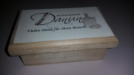 Restaurante Danun: Bill box. Very nice