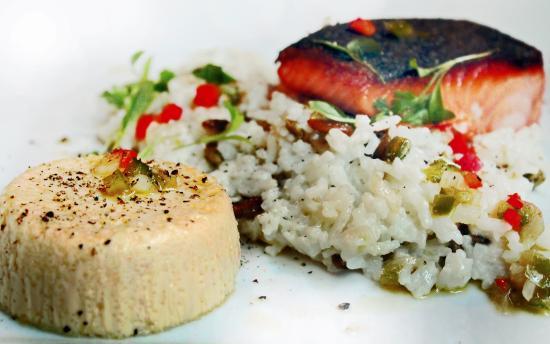 Brazo: Salmon with savory flan