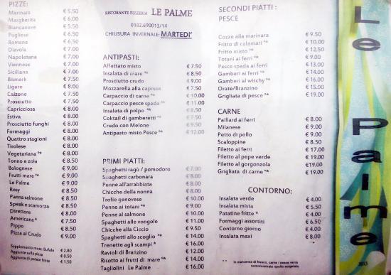 Hotel Restaurant Le Palme: Il menu