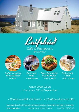 Budardalur, Islandia: Leifsbud Cafe & Restaurant by the harbour