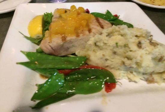 Fairhaven, MA: Yellow fin tuna with mango sauce, wasabi smashed potatoes, snow peas and seared red peppers.