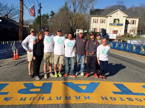 Mashpee, MA: Team Cape Cod Coffee at the Boston Marathon 2016 serving coffee and donuts