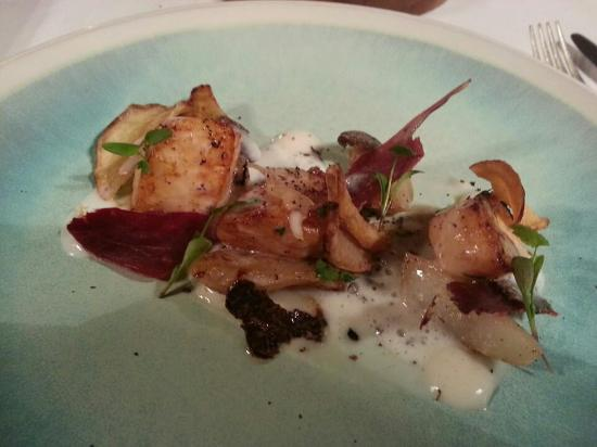 Hand dived scallop.