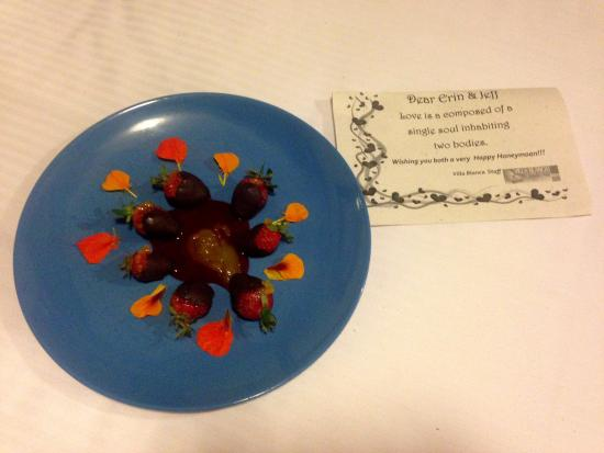 San Ramon, Costa Rica: Complimentary room service treat to celebrate our honeymoon