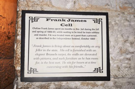 Jail, Marshal's Home & Museum: Outside the Frank James' Cell