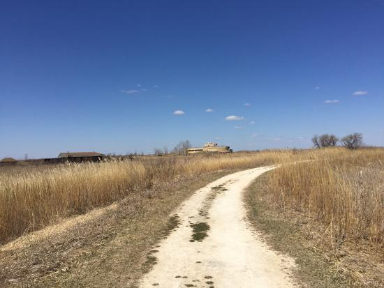 Oak Hammock Marsh Interpretive Centre: Along one of the trails; looking back towards the Interpretive Centre.