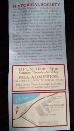 South Lake Tahoe, Californië: Info Sheet with Map
