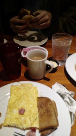 Pewaukee, WI: 3 egg & ham omlet with toast is the option I picked