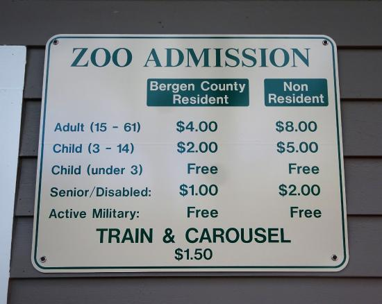 Zoo Admission prices at Van Saun County Park