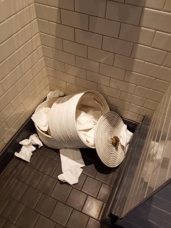 The towel bin in the gents' toilet
