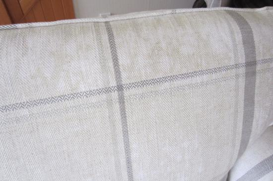 Laura Ashley bed-settee after professional cleaning. Loxley Check Natural Fabric (3590272)