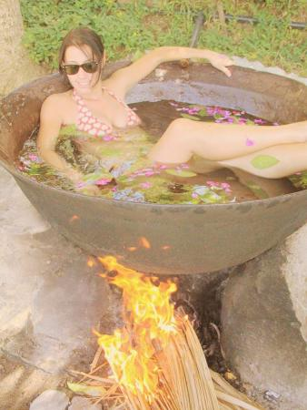 Me boiling alive in a Kawa in Pandan island, you have to try it!! so much fun!