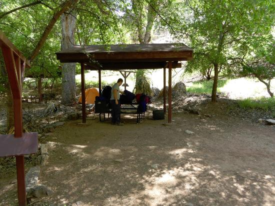 This is the shelter at Indian Gardens campsite, tee bar to hang backpacks and room for large ten