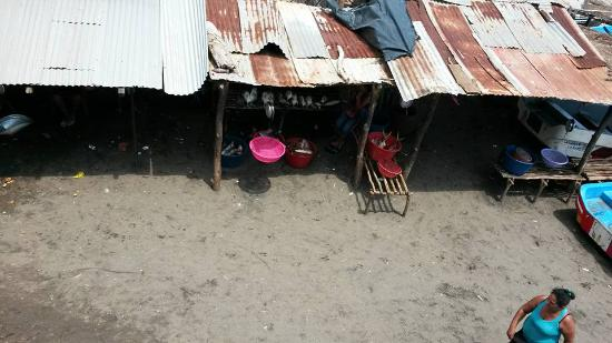 Casares, Nicaragua: the fish market right off the balcony after closing