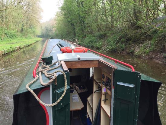 "Norbury, UK: The 6-person boat ""python"" we hired, cruising through Shropshire."