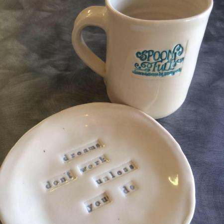 Our plates and mugs are handmade by Miles City's own Keeley Perkins
