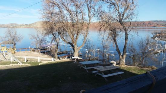 Alcova, WY: View from the deck at the Lakeside Marina restaurant