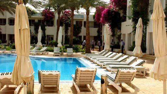 Falcon Hills Hotel: ежедневная уборка территории(вид из номера на маленький бассейн)