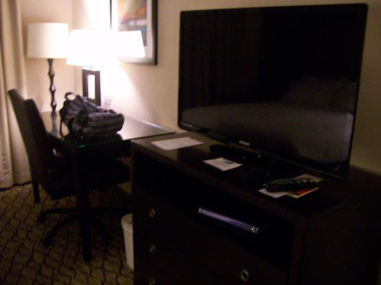 Holiday Inn Express Hotel & Suites Winchester: Room 108, work desk and TV and dresser.