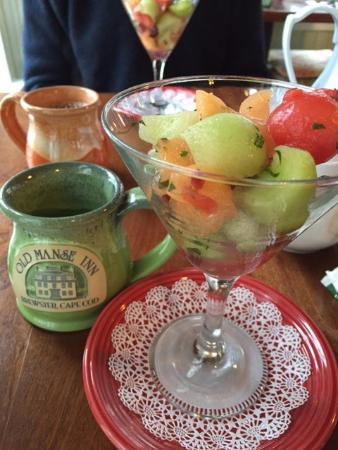 Brewster, MA: Melon with sprigs of mint and a mojito-inspired fruit marinade