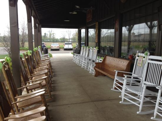 Belleville, MI: Rocking chairs outside for your rocking pleasure.
