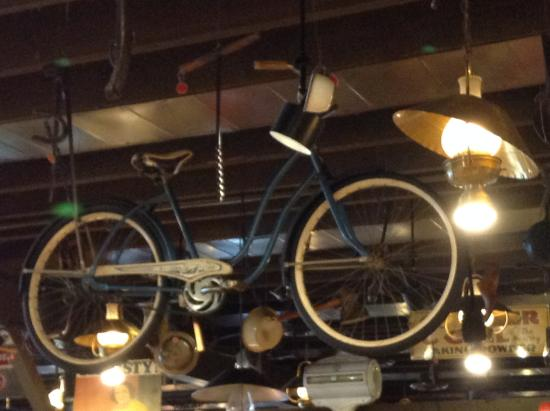 Belleville, MI: Bicycle on the ceiling.