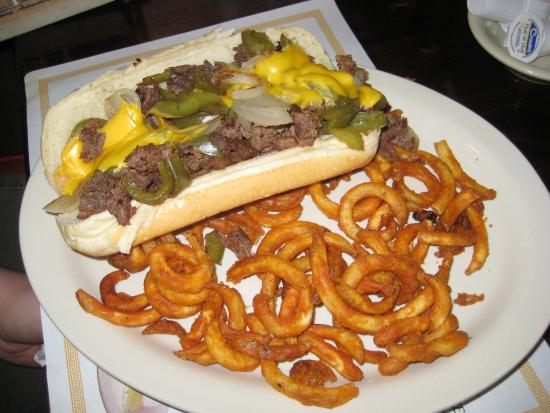‪‪Dutch Pantry‬: The delicious cheese steak sandwich with curly fries‬