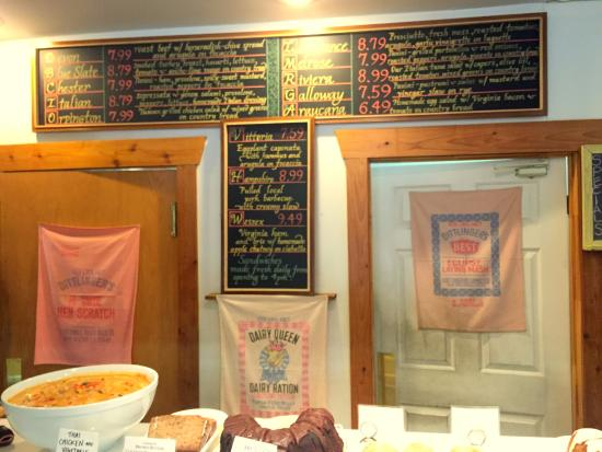Crozet, VA: partial list of sandwiches and deli items