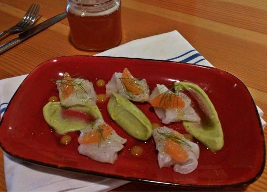 Grover Beach, CA: Halibut Sashimi with avocado puree and Cara Cara oranges