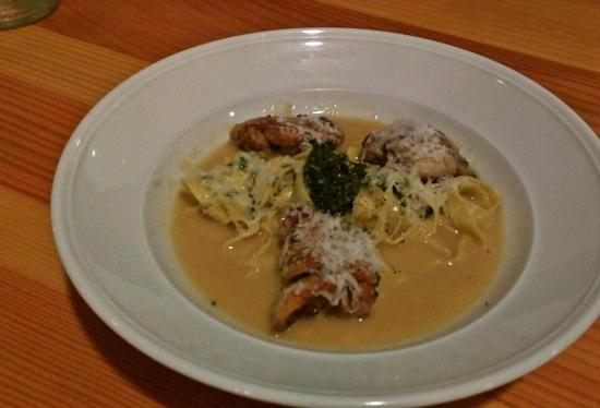 Grover Beach, CA: Sweetbreads with homemade fettuccini