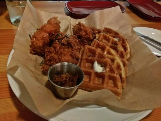 Grover Beach, CA: Chicken and Waffles with Kimchi
