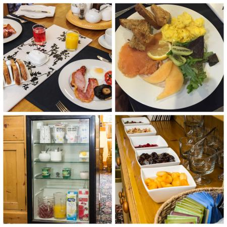 Pembridge, UK: Full English Breakfast,Selection of fruits and Chilled Products