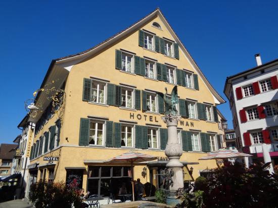 Schwan Hotel & Taverne: Hotel Schwan am gleichnamigen Dorfbrunnen