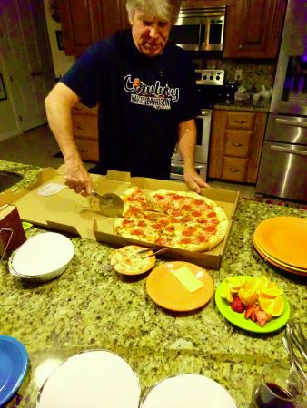 Brother Chris Doing The Honors A Very Tasty Pizza From Italian