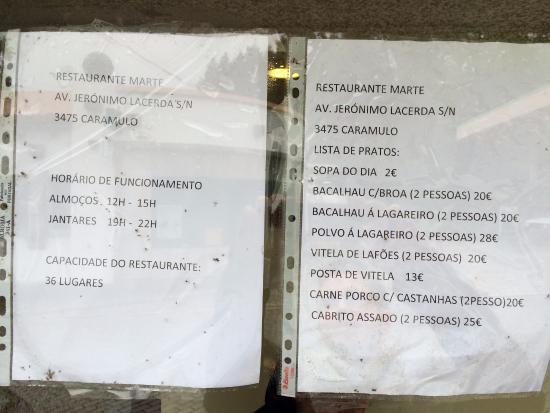 Caramulo, Portugal: Menu