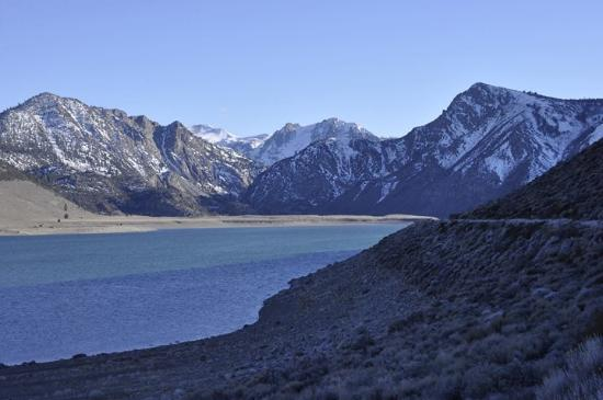Convict Lake: Beautiful Snow Caped Mountains In The Background.